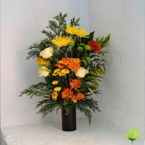 Jarrón nicho en color amarillo, rojo y naranja