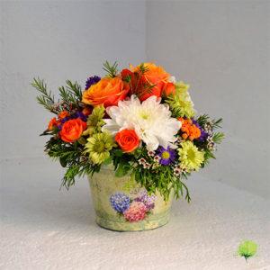 Composición Floral en Zinc Tonos Intensos