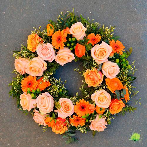 Corona de Flores Funeraria Tonos Intensos