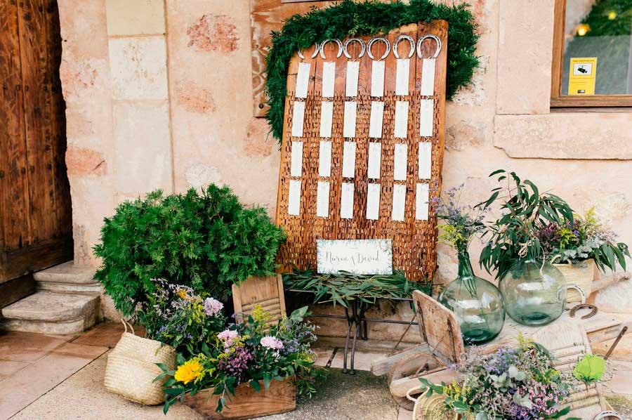 Seating de Boda decorado con Flores Blumenaria